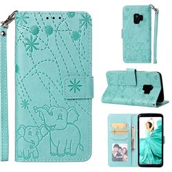 Embossing Fireworks Elephant Leather Wallet Case for Samsung Galaxy S9 - Green