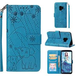Embossing Fireworks Elephant Leather Wallet Case for Samsung Galaxy S9 - Blue