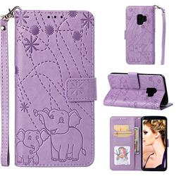 Embossing Fireworks Elephant Leather Wallet Case for Samsung Galaxy S9 - Purple