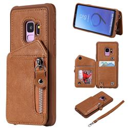 Classic Luxury Buckle Zipper Anti-fall Leather Phone Back Cover for Samsung Galaxy S9 - Brown