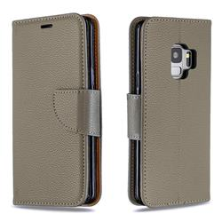 Classic Luxury Litchi Leather Phone Wallet Case for Samsung Galaxy S9 - Gray