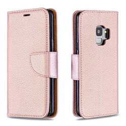 Classic Luxury Litchi Leather Phone Wallet Case for Samsung Galaxy S9 - Golden