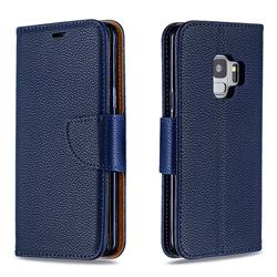 Classic Luxury Litchi Leather Phone Wallet Case for Samsung Galaxy S9 - Blue