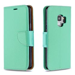 Classic Luxury Litchi Leather Phone Wallet Case for Samsung Galaxy S9 - Green