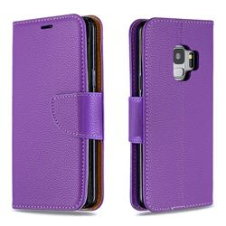 Classic Luxury Litchi Leather Phone Wallet Case for Samsung Galaxy S9 - Purple