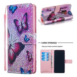 Blue Butterfly Sequins Painted Leather Wallet Case for Samsung Galaxy S9