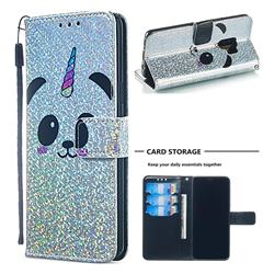 Panda Unicorn Sequins Painted Leather Wallet Case for Samsung Galaxy S9