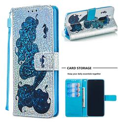 Mermaid Seahorse Sequins Painted Leather Wallet Case for Samsung Galaxy S9