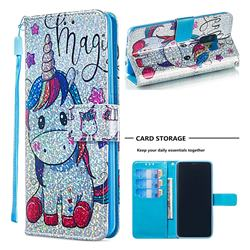 Star Unicorn Sequins Painted Leather Wallet Case for Samsung Galaxy S9