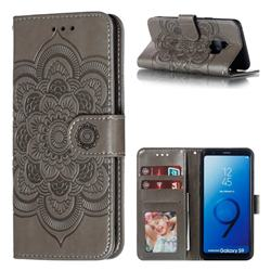 Intricate Embossing Datura Solar Leather Wallet Case for Samsung Galaxy S9 - Gray