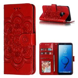 Intricate Embossing Datura Solar Leather Wallet Case for Samsung Galaxy S9 - Red