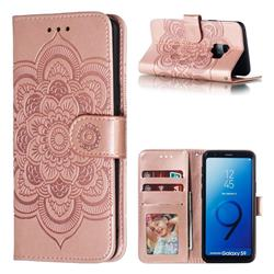 Intricate Embossing Datura Solar Leather Wallet Case for Samsung Galaxy S9 - Rose Gold