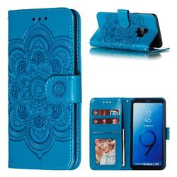 Intricate Embossing Datura Solar Leather Wallet Case for Samsung Galaxy S9 - Blue