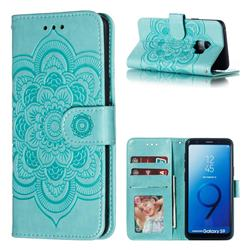 Intricate Embossing Datura Solar Leather Wallet Case for Samsung Galaxy S9 - Green