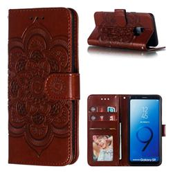 Intricate Embossing Datura Solar Leather Wallet Case for Samsung Galaxy S9 - Brown