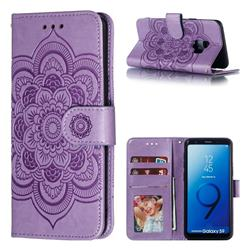 Intricate Embossing Datura Solar Leather Wallet Case for Samsung Galaxy S9 - Purple