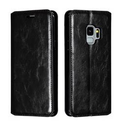 Retro Slim Magnetic Crazy Horse PU Leather Wallet Case for Samsung Galaxy S9 - Black