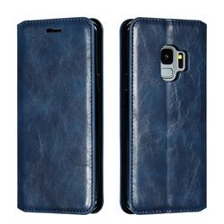 Retro Slim Magnetic Crazy Horse PU Leather Wallet Case for Samsung Galaxy S9 - Blue