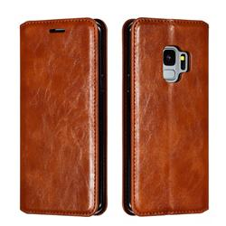 Retro Slim Magnetic Crazy Horse PU Leather Wallet Case for Samsung Galaxy S9 - Brown
