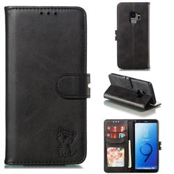 Embossing Happy Cat Leather Wallet Case for Samsung Galaxy S9 - Black