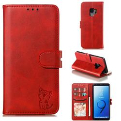 Embossing Happy Cat Leather Wallet Case for Samsung Galaxy S9 - Red