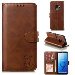 Embossing Happy Cat Leather Wallet Case for Samsung Galaxy S9 - Brown