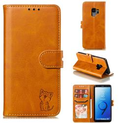 Embossing Happy Cat Leather Wallet Case for Samsung Galaxy S9 - Yellow