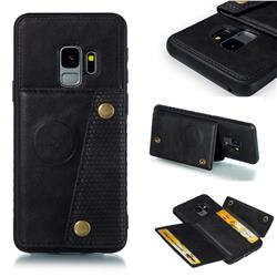 Retro Multifunction Card Slots Stand Leather Coated Phone Back Cover for Samsung Galaxy S9 - Black