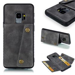 Retro Multifunction Card Slots Stand Leather Coated Phone Back Cover for Samsung Galaxy S9 - Gray