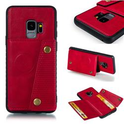 Retro Multifunction Card Slots Stand Leather Coated Phone Back Cover for Samsung Galaxy S9 - Red