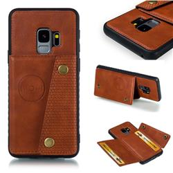 Retro Multifunction Card Slots Stand Leather Coated Phone Back Cover for Samsung Galaxy S9 - Brown