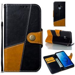 Retro Magnetic Stitching Wallet Flip Cover for Samsung Galaxy S9 - Black