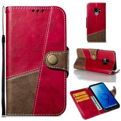 Retro Magnetic Stitching Wallet Flip Cover for Samsung Galaxy S9 - Rose Red