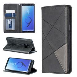 Prismatic Slim Magnetic Sucking Stitching Wallet Flip Cover for Samsung Galaxy S9 - Black