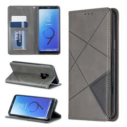 Prismatic Slim Magnetic Sucking Stitching Wallet Flip Cover for Samsung Galaxy S9 - Gray