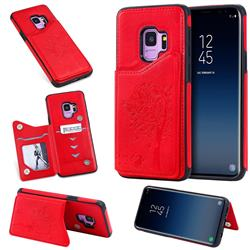 Luxury Tree and Cat Multifunction Magnetic Card Slots Stand Leather Phone Back Cover for Samsung Galaxy S9 - Red