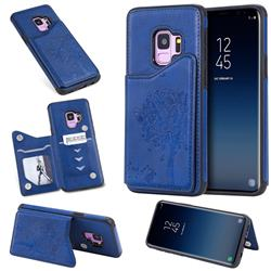 Luxury Tree and Cat Multifunction Magnetic Card Slots Stand Leather Phone Back Cover for Samsung Galaxy S9 - Blue