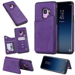 Luxury Tree and Cat Multifunction Magnetic Card Slots Stand Leather Phone Back Cover for Samsung Galaxy S9 - Purple