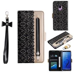 Luxury Lace Zipper Stitching Leather Phone Wallet Case for Samsung Galaxy S9 - Black