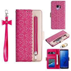Luxury Lace Zipper Stitching Leather Phone Wallet Case for Samsung Galaxy S9 - Rose