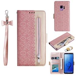 Luxury Lace Zipper Stitching Leather Phone Wallet Case for Samsung Galaxy S9 - Pink
