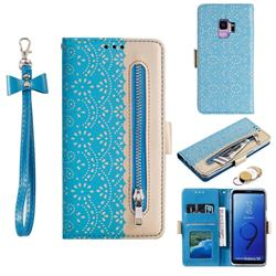 Luxury Lace Zipper Stitching Leather Phone Wallet Case for Samsung Galaxy S9 - Blue