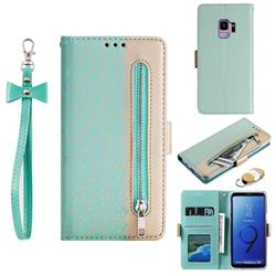 Luxury Lace Zipper Stitching Leather Phone Wallet Case for Samsung Galaxy S9 - Green
