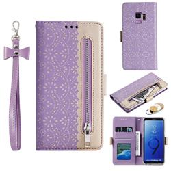 Luxury Lace Zipper Stitching Leather Phone Wallet Case for Samsung Galaxy S9 - Purple