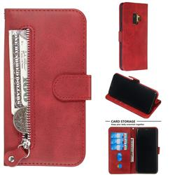 Retro Luxury Zipper Leather Phone Wallet Case for Samsung Galaxy S9 - Red