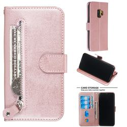 Retro Luxury Zipper Leather Phone Wallet Case for Samsung Galaxy S9 - Pink