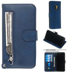 Retro Luxury Zipper Leather Phone Wallet Case for Samsung Galaxy S9 - Blue