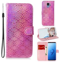 Laser Circle Shining Leather Wallet Phone Case for Samsung Galaxy S9 - Pink