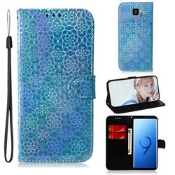 Laser Circle Shining Leather Wallet Phone Case for Samsung Galaxy S9 - Blue