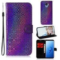Laser Circle Shining Leather Wallet Phone Case for Samsung Galaxy S9 - Purple